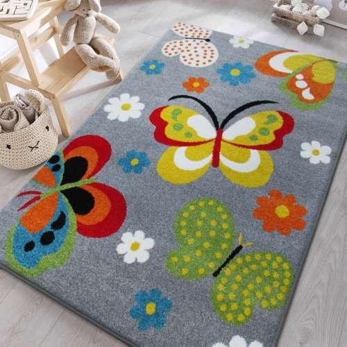 Dywan dla dzieci w motyle z atestem Mondo 14 szary