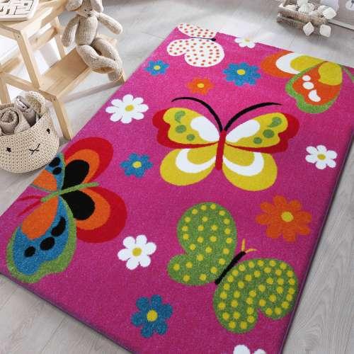 Dywan dla dzieci Motyle z atestem Mondo 14 fioletowy