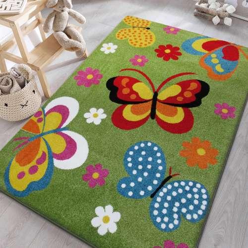 Dywan dziecięcy Motyle z atestem Mondo 14 zielony