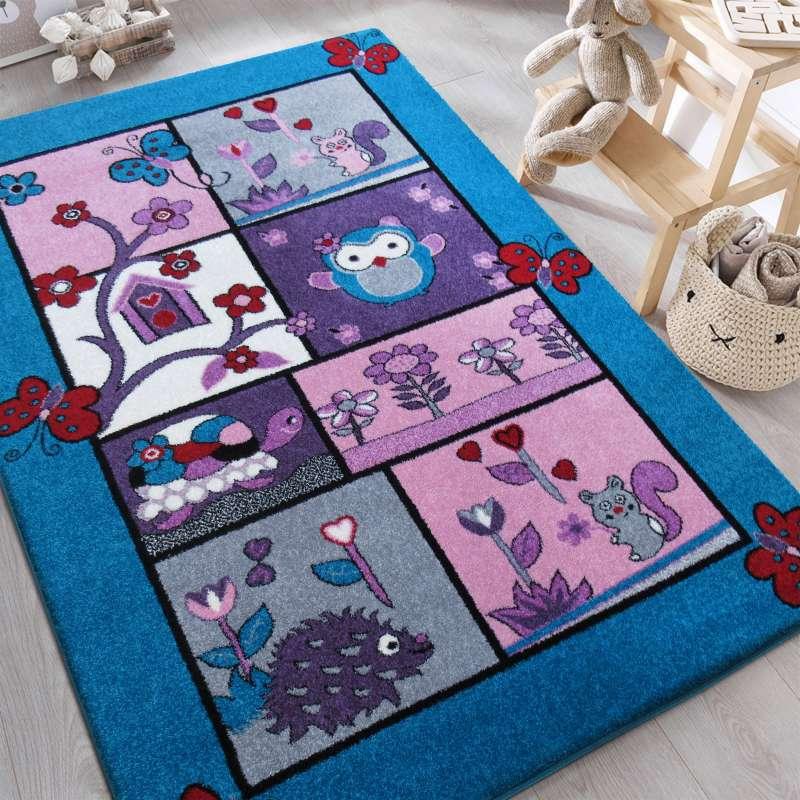 Dywan dla dziecka Bella 04 Turkusowy - Zwierzęta