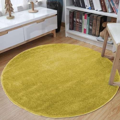 Dywan okrągły Portofino jednolity żółty