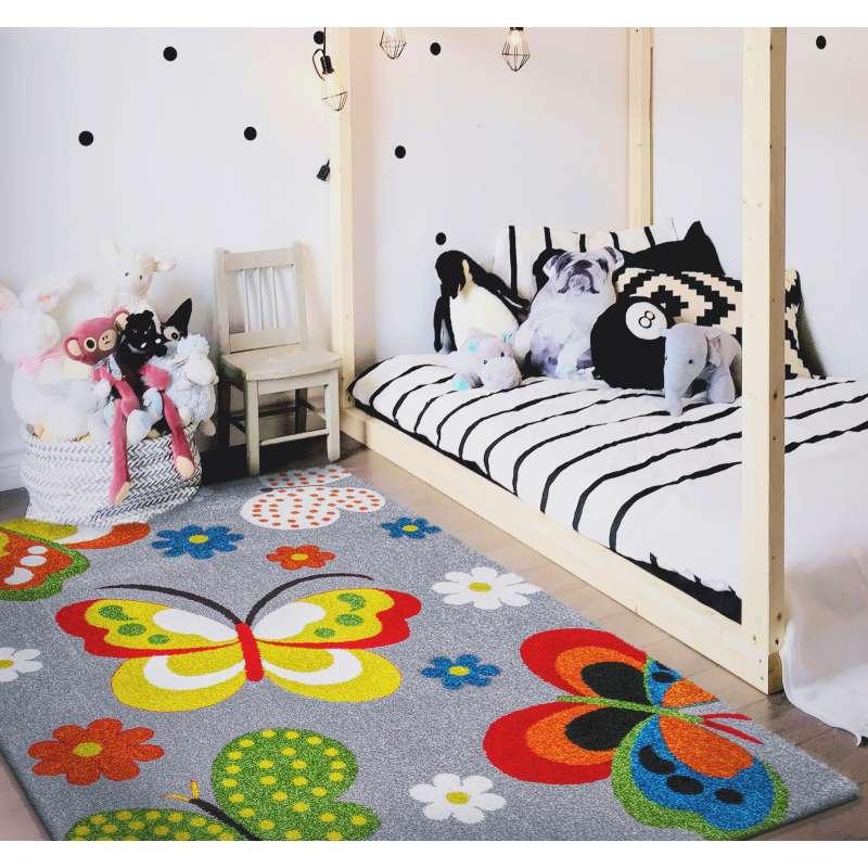 Zaawansowane Dywan dla dzieci motyle Mondo 14 - Szary BY84