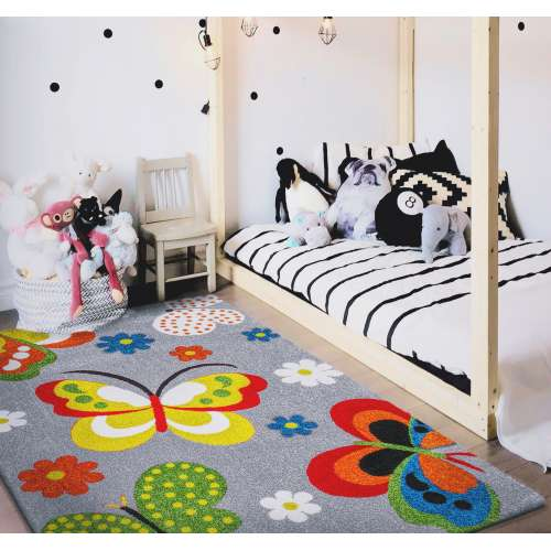Dywan dla dzieci z atestem Mondo 14 Motyle - Szary