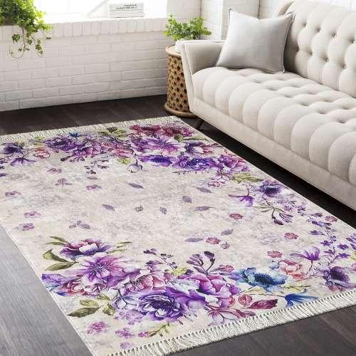 Dywan antypoślizgowy Fioletowe kwiaty Horeca 03