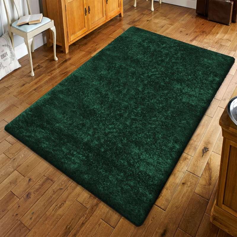 Puszysty dywan z długim włosem- Merinos butelkowa zieleń